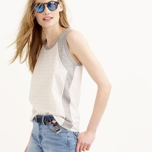 J. Crew Inset Embellished Tank Top in White/Grey
